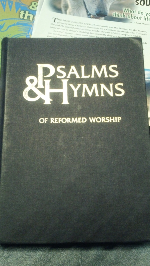 The Tabernacle hymnal containing hymns from the Wesleys, Boice, and many others.