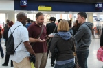 Robert and Greg sharing the Gospel at Waterloo train station.