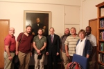 The team with Dr. Peter Masters in his office, with Spurgeon's last portrait and pulpit behind us.