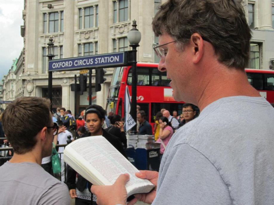 Jason loves to read God's Word in public.