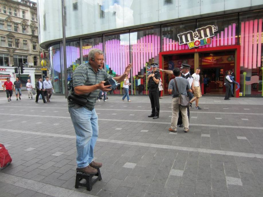 Scott preaching in Leicester Square.