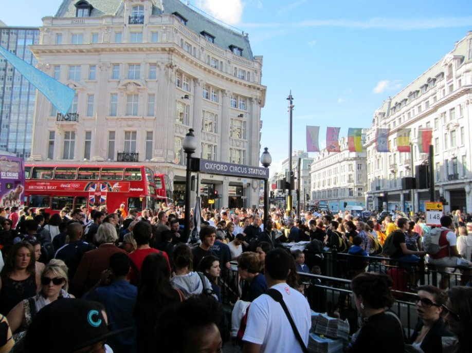 It got so crowded that the tube stations overflowed onto the sidewalks, which provided for a waiting audience!