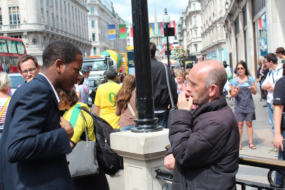 Darren engaging a man with the Gospel.