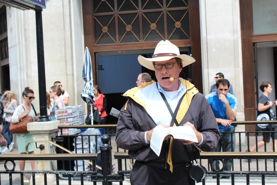 Bill Adams preaching in Oxford Circus.
